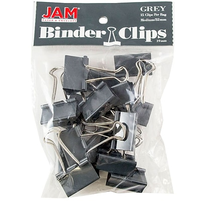 JAM Paper® Colored Binder Clips, Medium, 1.25/32mm, Gray, 15/Pack (339BCGY)