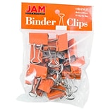 JAM Paper® Binder Clips; Medium, 1.25/32mm, Orange, 15/Pack (339BCOR)