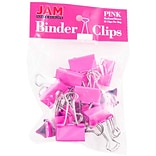 JAM Paper® Binder Clips; Medium, 1.25/32mm, Pink, 15/Pack (339BCPI)