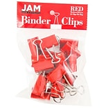 JAM Paper® Binder Clips; Medium, 1.25/32mm, Red, 15/Pack (339BCRE)