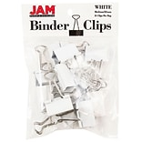 JAM Paper® Binder Clips; Medium, 1.25/32mm, White, 15/Pack (339BCWH)