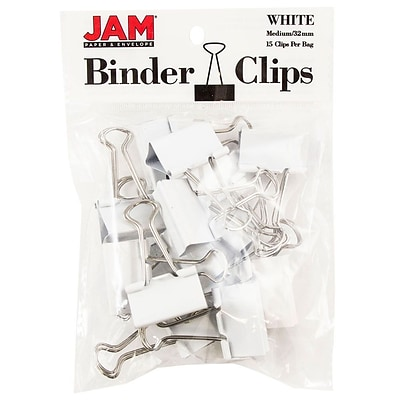 JAM Paper® Colored Binder Clips, Medium, 1.25/32mm, White, 15/Pack (339BCWH)
