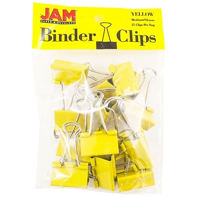 JAM Paper® Colored Binder Clips, Medium, 1.25/32mm, Yellow, 15/Pack (339BCYE)