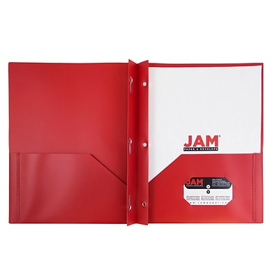 JAM Paper® Plastic 2 Pocket Eco School Folders with Metal Tang Fastener Clasps, Red, 96/Carton (382ECREDB)