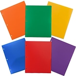 JAM Paper® Heavy Duty 3 Hole Punch 2 Pocket Plastic School Folders; Assorted Primary Colors, 6/Pack