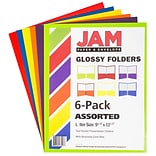 JAM Paper® Laminated Glossy 2 Pocket School Presentation Folders; Assorted Primary Colors, 6/Pack (3