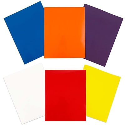 JAM Paper® 2 Pocket Laminated Glossy School Folders with Tang Fastener Clips, Assorted Colors, 6/Pack (385GCASSRT)
