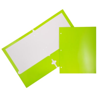 JAM Paper® 2 Pocket Laminated Glossy 3 Hole Punched School Folders, Lime Green, 25/Pack (385GHPLID)