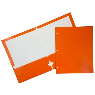 JAM Paper® 2 Pocket Laminated Glossy 3 Hole Punched School Folders, Orange, 25/Pack (385GHPORD)