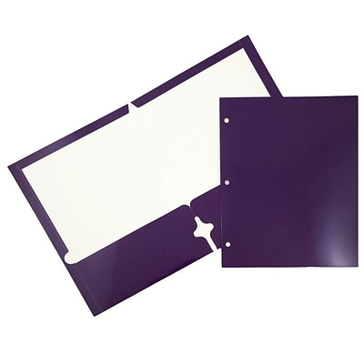 JAM Paper® 2 Pocket Laminated Glossy 3 Hole Punched School Folders, Purple, 25/Pack (385GHPPUD)