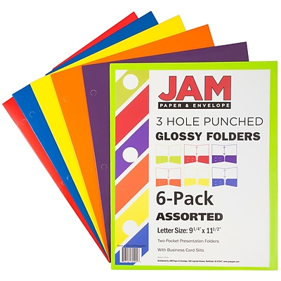JAM Paper® Laminated Glossy 2 Pocket 3 Hole Punch School Presentation Folders, Assorted Colors, 6/Pack (385GHPRBYPOBL)