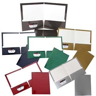 JAM Paper® Laminated Glossy 2 Pocket School Presentation Folders; Assorted Laid-Back Colors, 6/Pack