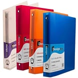 JAM Paper® Assorted 1 Inch Plastic 3 Ring Binders; Red, Green, Blue, Orange, 4/Pack (751T1RBORCL)
