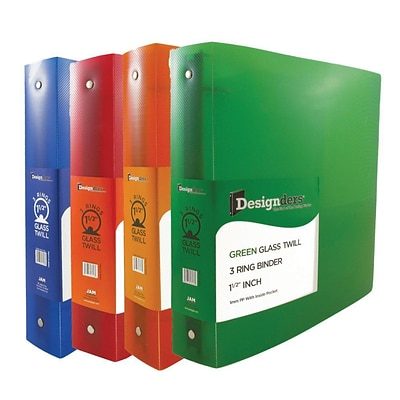 JAM Paper® Assorted 1.5 Inch Plastic 3 Ring Binders, Red, Green, Blue, Orange, 4/Pack (762T15ASSRT)