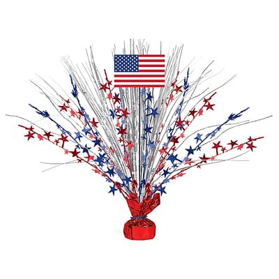 Amscan Patriotic Foil Spray Centerpiece, 18, Red/Silver/Blue, 2/Pack (110240)