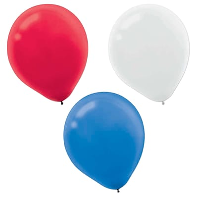 Amscan Latex Balloons, 12, Red/White/Blue, 2/Pack, 72 Per Pack (113504)
