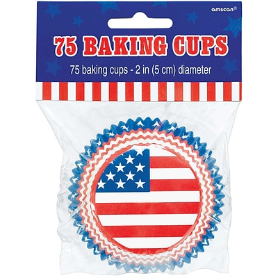 Amscan Flag Paper Baking Cups, 2.5, Red/White/Blue, 5/Pack, 75 Per Pack (140041)