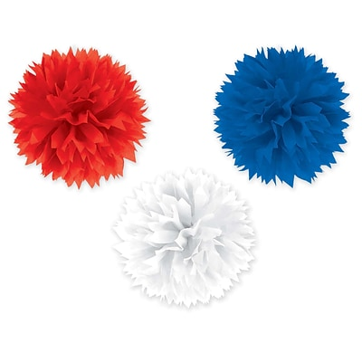 Amscan Fluffy Decorations, 16, Red/White/Blue, 2/Pack, 3 Per Pack (189446)