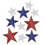 Amscan Patriotic Mini Glitter Cutouts, Red/Silver/Blue, 5/Pack, 10 Per Pack (198360)