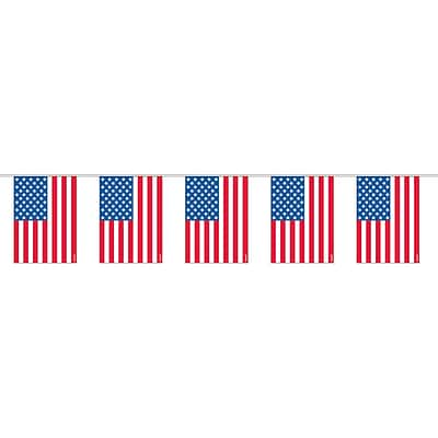 Amscan Plastic Flag Garland, 6.5 x 6, Red/White/Blue, 8/Pack (240060)
