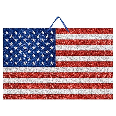 Amscan MDF Glitter Flag Sign, 9.25 x 14.25, Red/Silver/Blue, 6/Pack (241028)