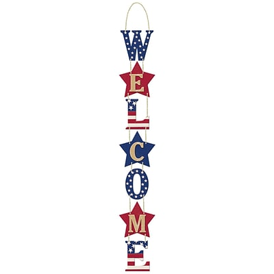 Amscan MDF Welcome Sign, 27 x 3.75, Red/White/Blue, 2/Pack (241403)