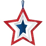 Amscan MDF Spinning Glitter Star, 14 x 14, Red/Silver/Blue, 5/Pack (241409)