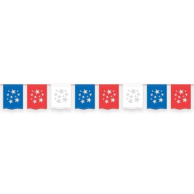 Amscan Plastic Flag Banner, 12, Red/White/Blue, 3/Pack (249701)