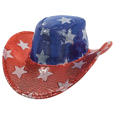 Amscan Sequin Cowboy Hat, 5 x 13, Red/Silver/Blue (250573)