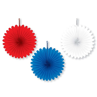 Amscan Patriotic Mini Fans, 6, Red/White/Blue, 5/Pack, 5 Per Pack (299442)