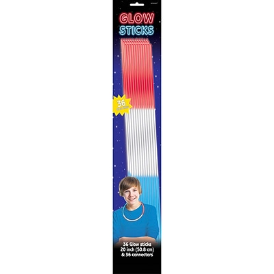 Amscan Tri Color Glow Sticks, 20, Red/White/Blue (310057)