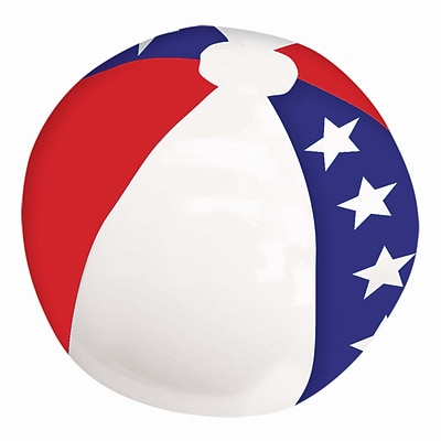 Amscan Inflatable Beach Ball, 13, Red/White/Blue, 9/Pack (391919)