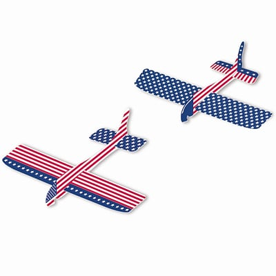 Amscan Patriotic Gliders, 7.875 x 8.875, Red/White/Blue, 2/Pack, 12 Per Pack (393869)