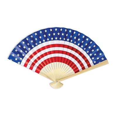 Amscan Patriotic Paper Fan, 9 x 12.5, Red/White/Blue, 14/Pack (394206)