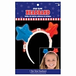 Amscan Glow Stars Headband, 6 x 6.25, Red/White/Blue, 7/Pack (397122)