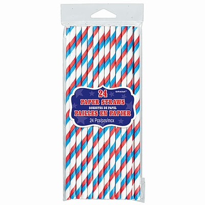 Amscan Paper Straws Stripes, 7.75, Red/White/Blue, 3/Pack, 24 Per Pack (400076)