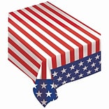 Amscan Flag Flannel Back Tablecover, 52 x 90, Red/White/Blue, 2/Pack (570009)
