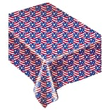 Amscan Patriotic Flannel Back Tablecover, 52 x 70, Red/White/Blue, 2/Pack (579142)