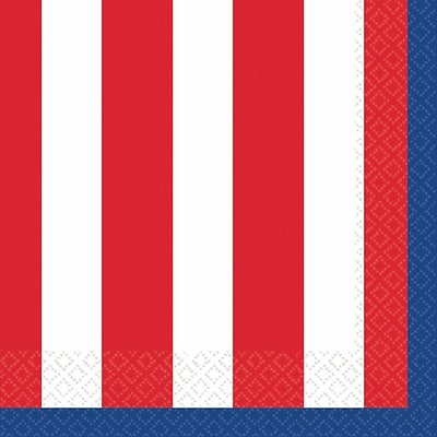 Amscan Red, White and Blue Stars Beverage Napkins, 5 x 5, 3/Pack, 36 Per Pack (709656)