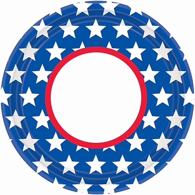 Amscan Red, White and Blue Stars Paper Plate, 10.5 x 10.5, 3/Pack, 18 Per Pack (729656)