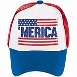 Amscan Patriotic Spirit Baseball Cap, 4.5 x 6.5 x 10, Red/White/Blue, 3/Pack (847279)