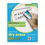 Pacon Creative Products Dry-Erase Sheets, Adhesive, 8-1/2x11, 5 Sheets per Pack, White