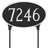 Montague Metal Products Double Sided Lawn Classic Oval Standard Address Plaque; Black / Silver