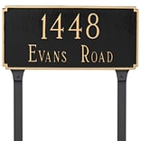 Montague Metal Products Madison Estate Two Line Address Plaque; Brick Red/Gold