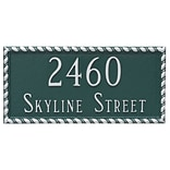 Montague Metal Products Franklin Rectangle Two Line Address Plaque; Hunter Green / Silver
