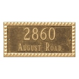 Montague Metal Products Cairo Rectangle Two Line Address Plaque; Black / Gold