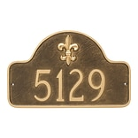 Montague Metal Products Fleur de Lis Lexington Arch Estate One Line Address Plaque; White/Gold