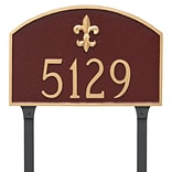 Montague Metal Products Fleur de Lis Prestige Arch Large One Line Address Plaque; Navy/Gold