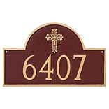 Montague Metal Products Classic Arch with Fluted Cross Address Plaque; Brick Red / Gold
