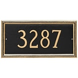 Montague Metal Products Verona Rectangle One Line Address Plaque; Black / Gold